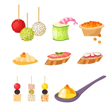 様々 な肉のカナッペ添えスナック前菜魚とチーズ盛り合わせベクトル図で軽食を宴会します。 写真素材 - 76464716