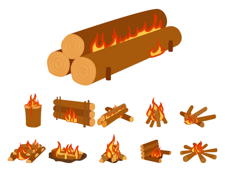 woodpile: Isolated illustration of campfire logs burning bonfire and firewood stack vector Illustration
