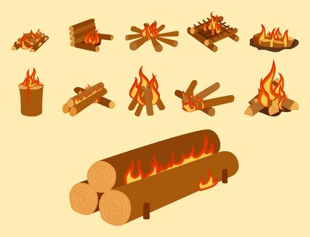 Geïsoleerde illustratie van kampvuur logs brandende vuurvuur ??en brandhout stapel vector