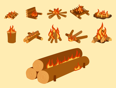 Isolated illustration of campfire logs burning bonfire and firewood stack vector Vettoriali