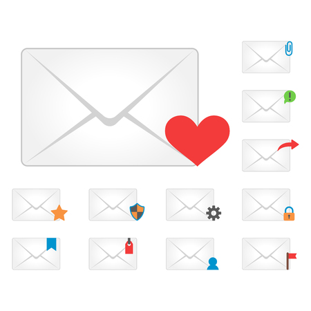 post: Email envelope cover icons communication and office correspondence blank cover address design paper empty card business writing message vector illustration. Illustration