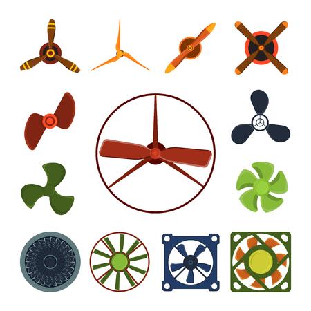 planos electricos: Propeller fan vector wind ventilator equipment air blower cooler rotation technology power circle.