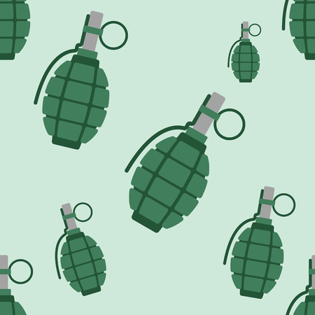 soldiers: Hand grenade bomb explosion weapons seamless pattern vector illustration