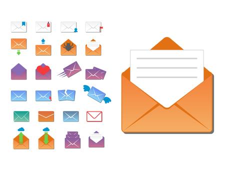 De communicatie van de de dekkingspictogrammen van de e-mailenvelop en van het de dekkingsadres van de bureaucorrespondentie lege het ontwerpdocument lege kaart bedrijfs het schrijven bericht vectorillustratie Stock Illustratie
