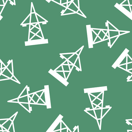 Electric pole seamless pattern vector illustration electrical voltage energy industrial wire tower.
