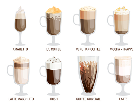Set of different transparent cups of coffee types mug with foam beverage and breakfast morning sign tasty aromatic glass assortment vector illustration.