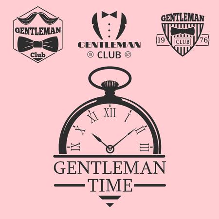 ビンテージ スタイルのポケット時計紳士ベクター イラスト バッジ デザイン口ひげ要素。  イラスト・ベクター素材