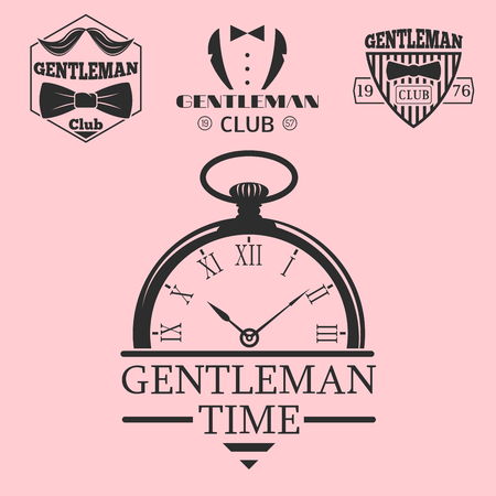 barbershop: Vintage style pocket watch gentleman vector illustration badge design mustache element. Illustration
