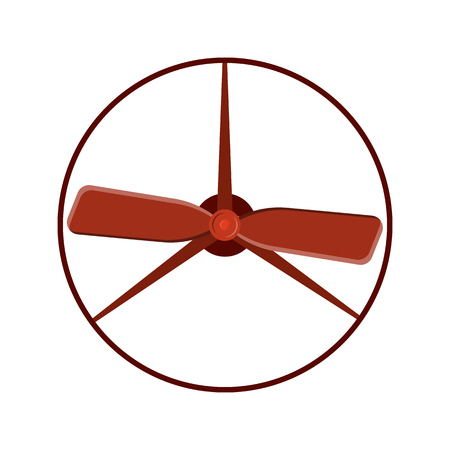 Marine propeller fan vector wind ventilator equipment ship blower cooler rotation technology power circle. Illustration