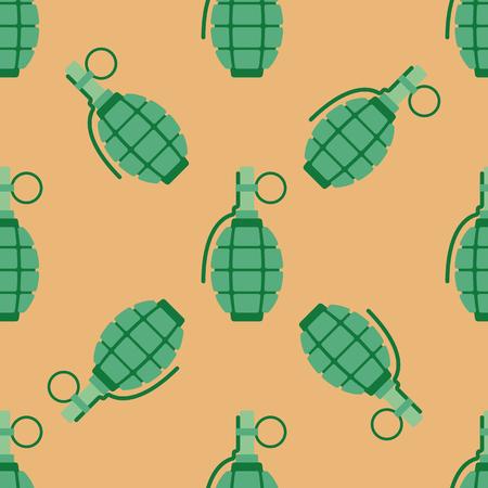 shrapnel: Hand grenade bomb explosion weapons seamless pattern vector illustration