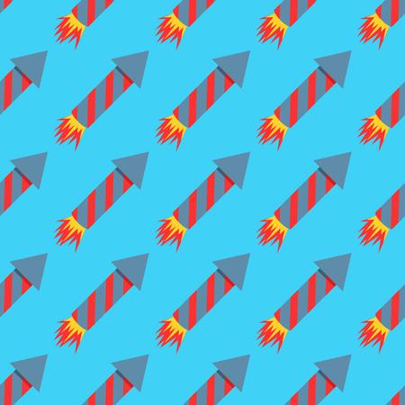 Feu d'artifice fusée modèle sans couture illustration vectorielle pétard pyrotechnie Banque d'images - 76314715