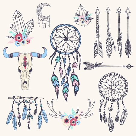 Creative boho style frames mady ethnic feathers arrows and Floral elements vector illustration.