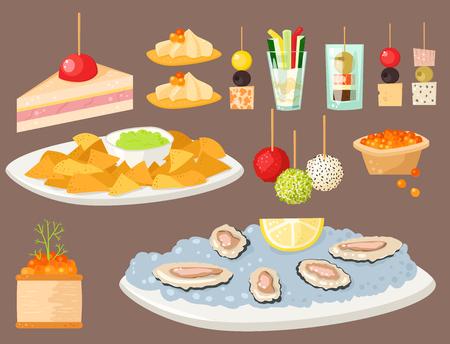 Diversos snacks canape carne de pescado aperitivo de queso y sala de aperitivos en la ilustración vectorial plato. Foto de archivo - 76630104