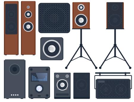家のサウンド システム ステレオ フラット ベクトル音楽スピーカー プレーヤー サブウーファー機器技術。  イラスト・ベクター素材