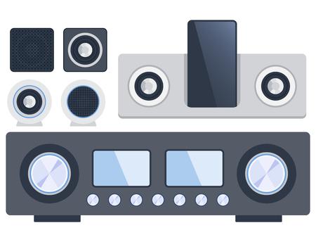 Home système de son stéréo musique plate-forme musicale haut-parleurs technologie de matériel de subwoofer de joueur. Banque d'images - 76600825
