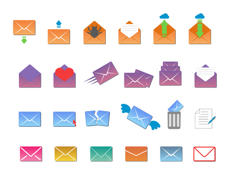 Email envelope cover icons communication and office correspondence blank cover address design paper empty card business writing message vector illustration. Illustration
