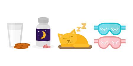 Sleep icon vector illustration sleeping pills milk glass cookies biscuit bottle sleeping cat blindfold