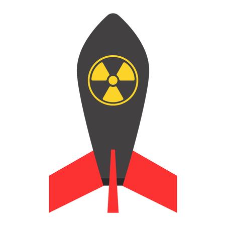 atomic bomb: Missile rocket icon vector illustration cartoon isolated bomb flat style white background threat