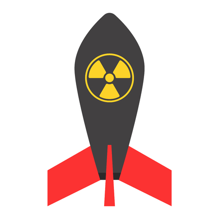 Missile rocket icon vector illustration cartoon isolated bomb flat style white background threat