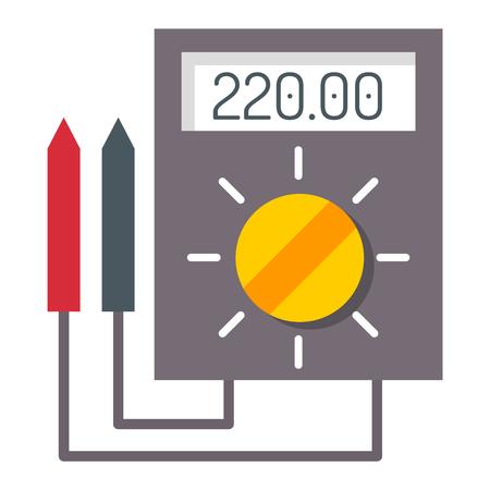 Multimeter electrical measurement technology equipment tool voltmeter electronic test vector illustration.
