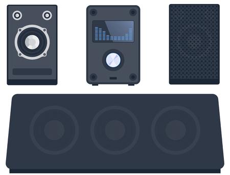Home système de son stéréo musique plate-forme musicale haut-parleurs technologie de matériel de subwoofer de joueur. Banque d'images - 76502466