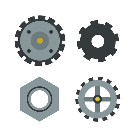 wheel spin: Gear icons isolated vector illustration mechanics web development shape work cog sign. Illustration