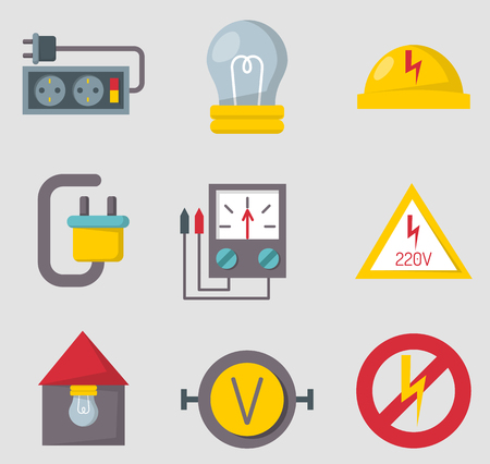 Energy electricity power icons battery vector illustration electrician voltage socket technology. Фото со стока - 76564824