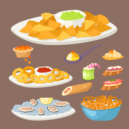 starter: Various meat canape snacks appetizer fish and cheese banquet snacks on platter vector illustration.