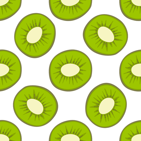 Cartoon fresh kiwi fruits in flat style seamless pattern food summer design vector illustration.