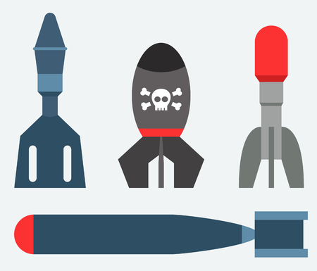 Missile rocket set icon vector illustration cartoon isolated bomb flat style background threat Illustration