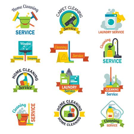 Set of cleaning service emblems labels design home household symbol work brush vector illustration. Illustration