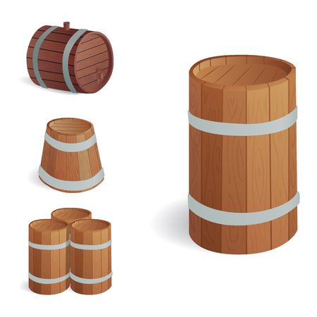 Wooden barrel vintage old style oak storage container and brown isolated retro liquid beverage object fermenting distillery.