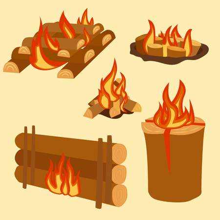 Isolated illustration of campfire logs burning bonfire and firewood stack vector Illustration