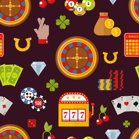 Casino game poker gambler symbols seamless pattern vector illustration.