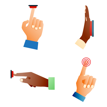 Hand press red button finger press control push pointer gesture human body part vector illustration. Stock Vector - 76737052