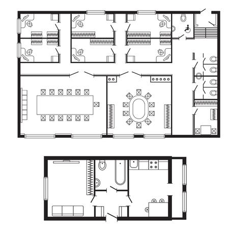 近代的なオフィス建築計画インテリア家具と建築デザイン プロジェクトを描画