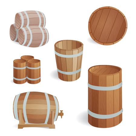 木樽ヴィンテージ古いスタイル オーク貯蔵容器と発酵蒸留所貨物茶色分離レトロな液体飲料オブジェクトはドラム ラガーのベクトル図です。