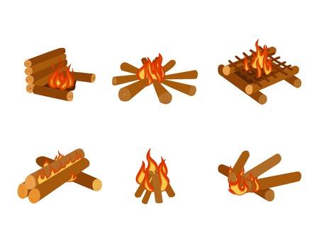 모닥불 장작 스택 벡터를 타는 모닥불 로그의 고립 된 그림