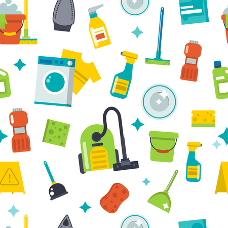 House cleaning tools seamless pattern background vector