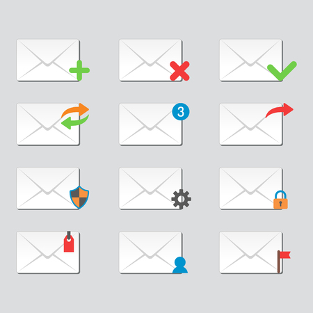envelope: Email envelope cover icons communication and office correspondence blank cover address design paper empty card business writing message vector illustration. Illustration