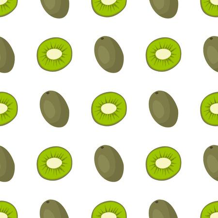 フラット スタイルのシームレスなパターン食品夏デザイン ベクトル イラストの漫画新鮮なキウイ フルーツです。