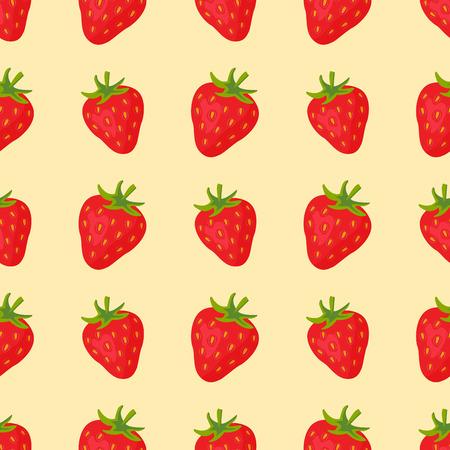 Cartoon fresh strawberry fruits in flat style seamless pattern food summer design vector illustration.