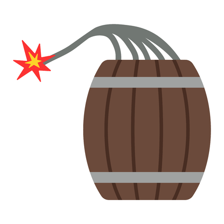 barrel bomb: Dynamite bomb with burning wick danger flat vector barrel
