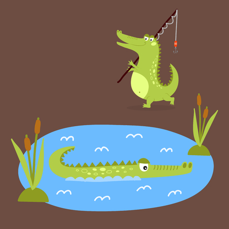 Cartoon green crocodile funny predator australian wildlife river reptile alligator flat vector illustration. Ilustração