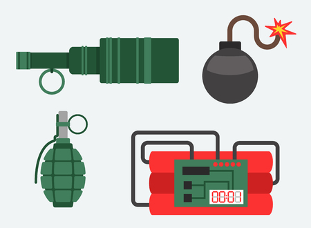 Bomb and dynamite vector illustration weapon explosion set