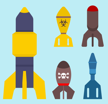 Missile rocket set icon vector illustration cartoon isolated bomb flat style
