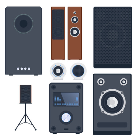 subwoofer: Home sound system stereo flat vector music loudspeakers player subwoofer equipment technology.