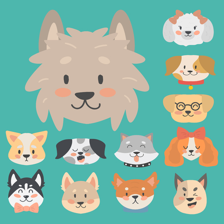 Funny cartoon dog character heads bread cartoon puppy friendly adorable canine vector illustration.