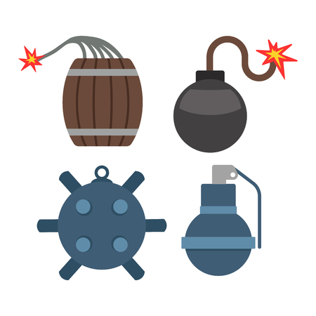 Bomb with burning wick vector illustration dynamite danger explosive weapon set