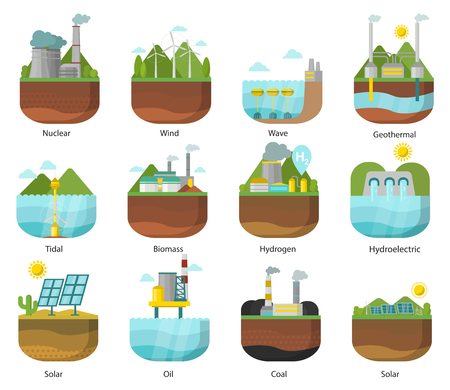 Generación de tipos de energía planta de energía iconos vector renovable alternativa ilustración de onda solar